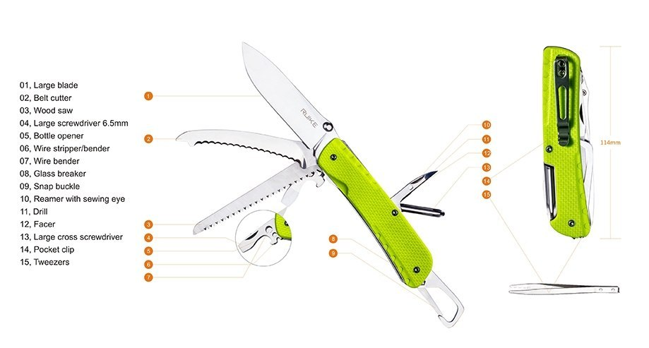 Army knife multifunction LD43 Ruike, green